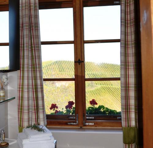 Badvergnügen mit Aussicht in die steirischen Weinberge am Knappenhof Eichberg Bürgerhaus
