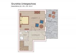 Das Untergeschoß der Ferienwohnung Bürgerhaus am Knappenhof in Eichberg an der südsteirischen Weinstrasse