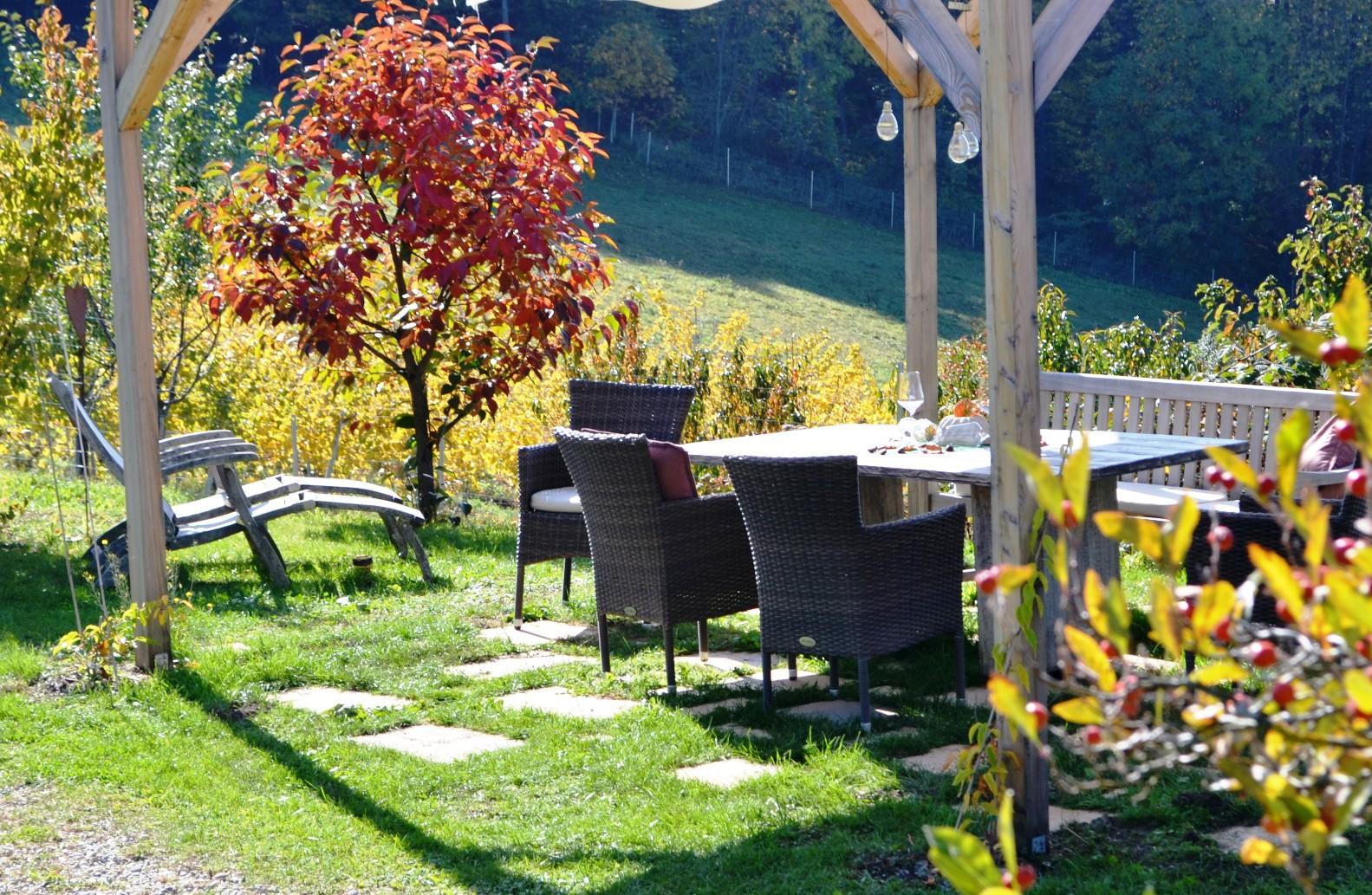 Garten Sitzbereich Ferienwohnung Südsteiermark