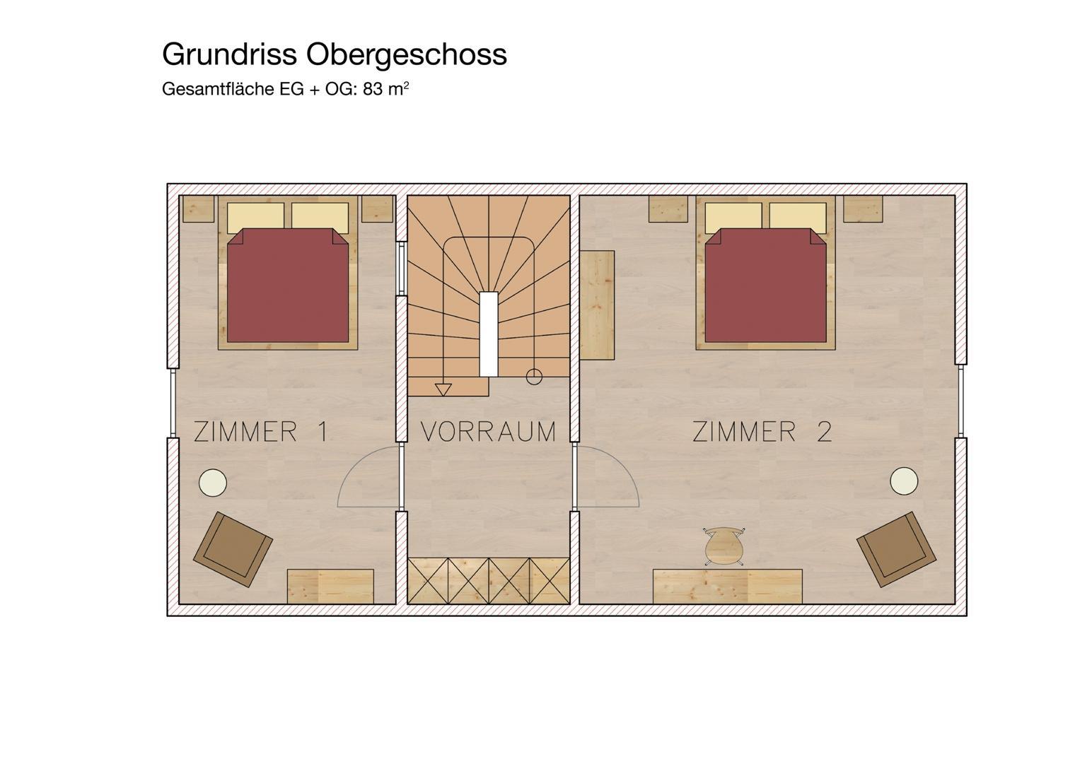 Obergeschoss Ferienhaus Gamlitz