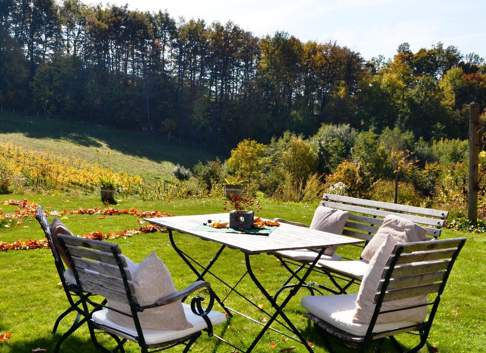 Ein schöner Platz mit Panoramablick in die südsteirischen Weingärten